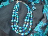 1950's/1960's Necklace & Matching Earclips - Green Blue Triple signed Vendome, USA (Sold)